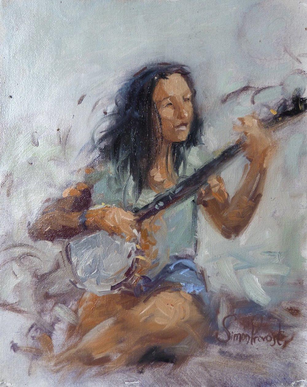 "SIMON PROVOST ""The Banjo Player"", oil, 9""x11"", $250"