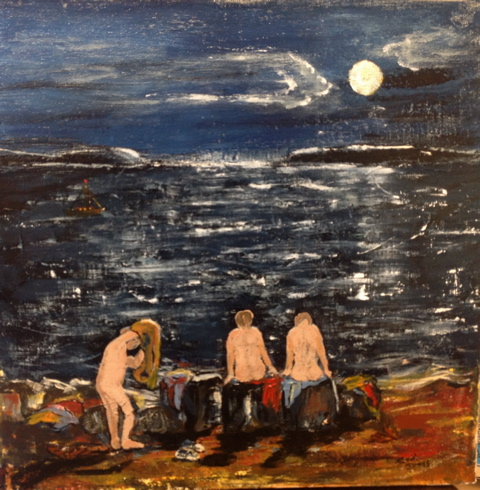 """CAROLE JAMES Skinny Dipping by Moonlight MED:       Acrylic on canvas  14"""" x 14"""" $295"""