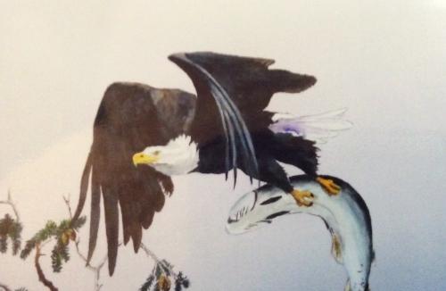 "LORNE SHANTZ ""Eagle Dinnertime"" watercolour $400"