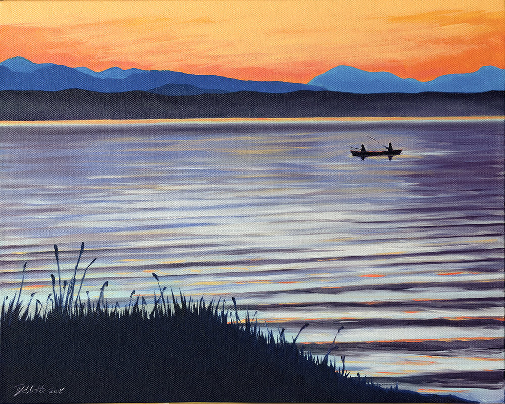 "DAINA DEBLETTE ""Last Catch of the Day"" oil on canvas $400"
