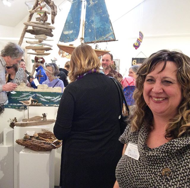 Lots to smile about! #tossedandfound #recycledart #upcycledart #groupshows #gallerylife #saltspringartists #bcartists #saltspringtourism