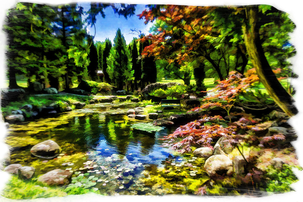 """""""Japanese Garden""""  ZaZa's Features New Local Artists Every Two Months: Monroe Payne is Displayed June 1st - July 31st"""