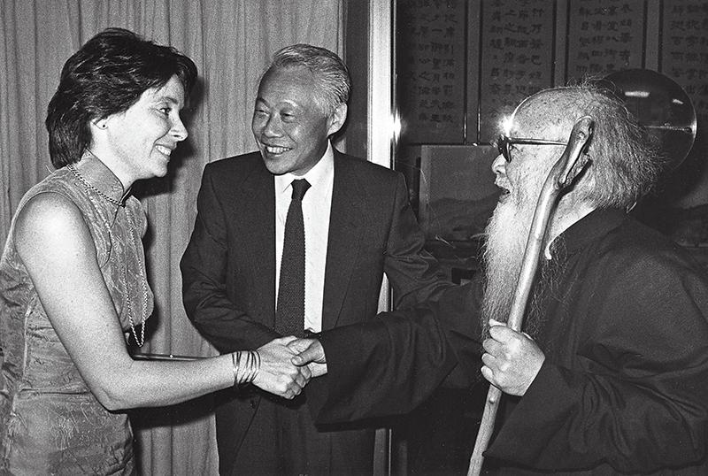 Avec Françoise dans l'atelier du peintre Zhang Daqian à Taipei, 1983. Droits réservés