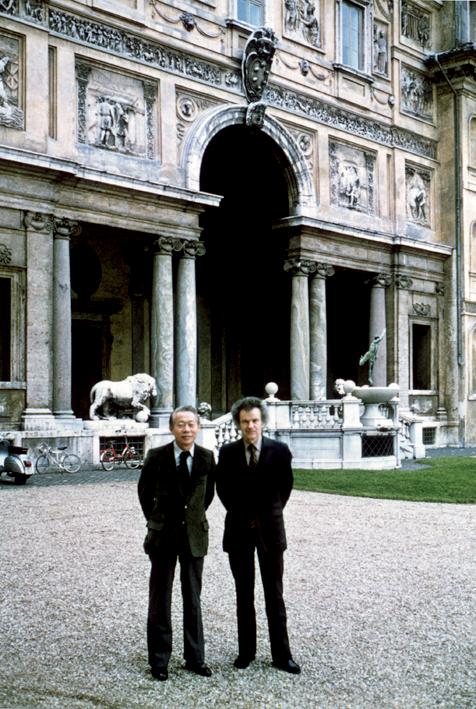 Avec Jean Leymarie à la Villa Médicis à Rome, 1986. Droits réservés