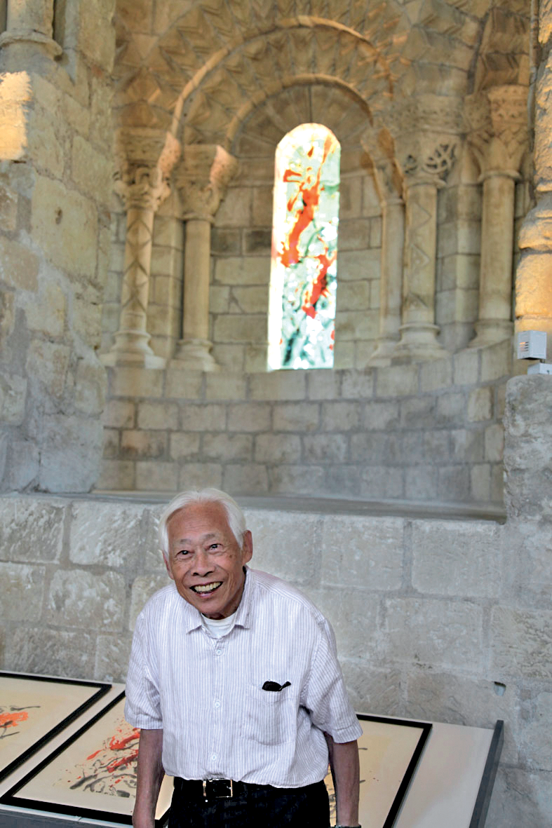 In Saint Cosme priory near Tours, in front of the stained glass windows of the pulpit, July 2010. Photo : Philippe Koutouzis