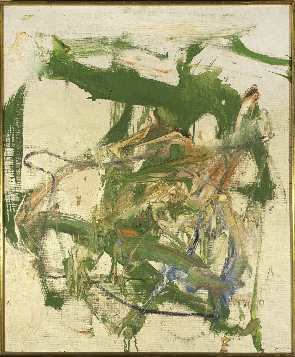 Joan Mitchell,  Sans titre , vers 1959-1962. Huile sur toile, 46 x 38 cm.. Signé en bas vers le centre. Contresigné sur le châssis de l'oeuvre. Musée de l'Hospice Saint-Roch, Issoudun. Inv. 2015.8.55. Zao Wou-Ki collectionneur / Collection du Musée de l'Hospice Saint-Roch. Donation Fondation Zao Wou-Ki © Photographe Antoine Mercier © ADAGP, Paris, 2016.