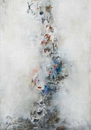 """Marronnier (Chestnut), 1955, oil on canvas, 39 1/2"""" x 25 1/2"""" (Picker Art Gallery, Colgate University. Gift of Harvey Picker '36. © Zao Wou-Ki/ProLitteris, Zurich)."""