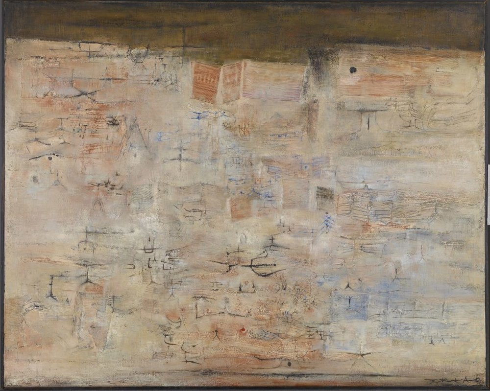 Traces dans la ville  , 1954. Huile sur toile, 51 15/16 x 64 in. (131.9 x 162.6 cm). Gift of The Honorable Sherwood Tarlow, 1993.016