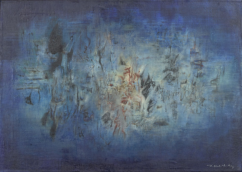 Fig 1. Zao Wou-Ki,  Water Music , 1957. Oil on canvas, 20 x 28 in. (50.8 x 71.1 cm). Chao 2000 Trust.