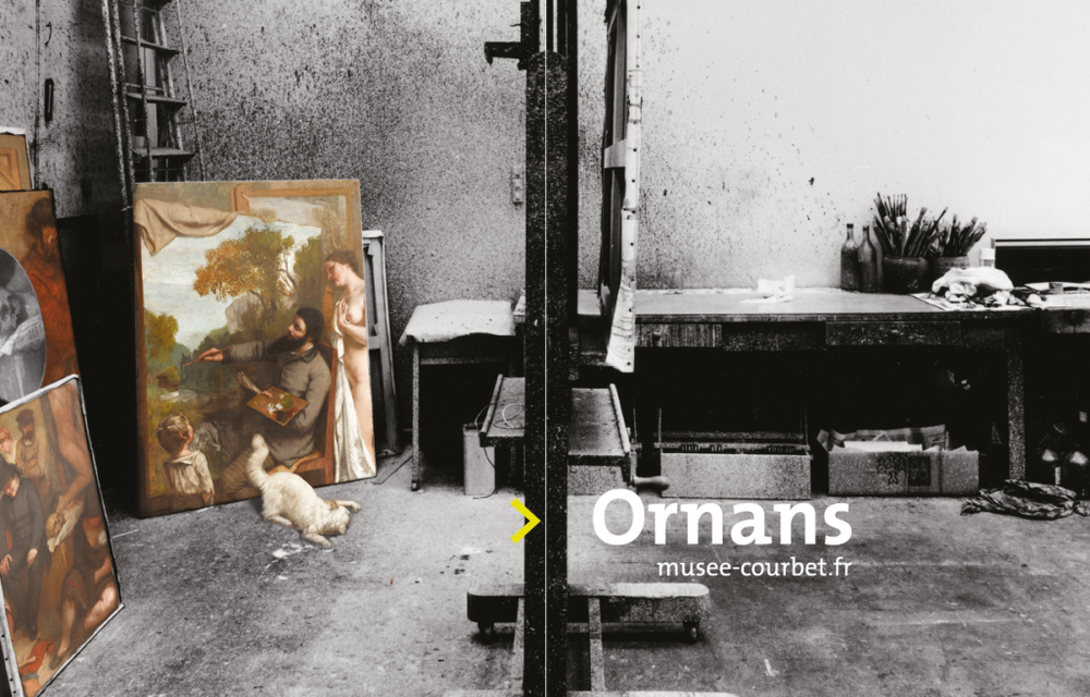 Elements of the poster of the exhibition 2017 of the Courbet Museum of Ornans
