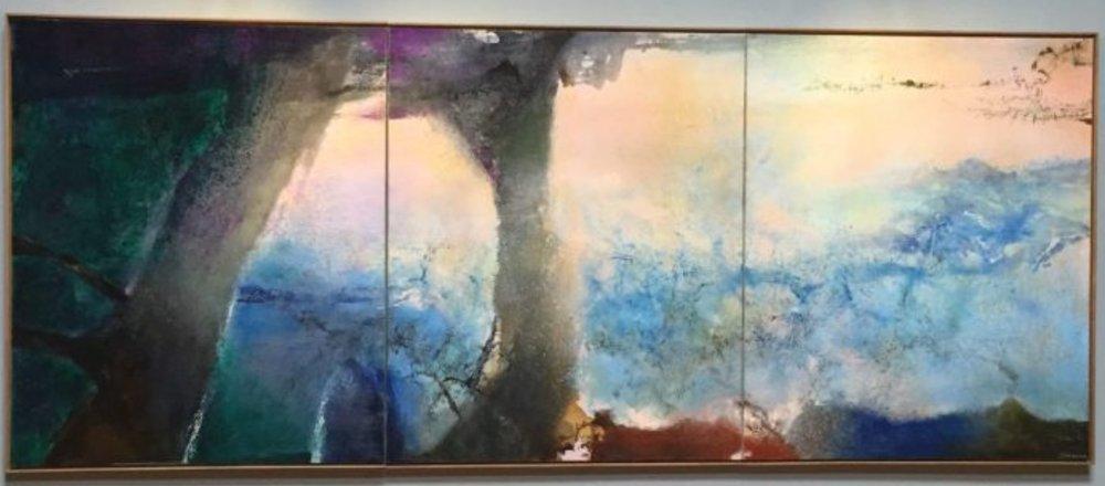 Zao Wou-Ki, Hommage à Claude Monet, 1991, 194×484 cm, photo©TheGazeofaParisienne