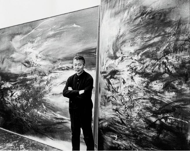 Zao Wou-Ki photographié par Sydney Waintrob en 1967 ©Adagp, Paris, Photo : Sydney Waintrob, Budd Studio © David Stekert, Budd Studio