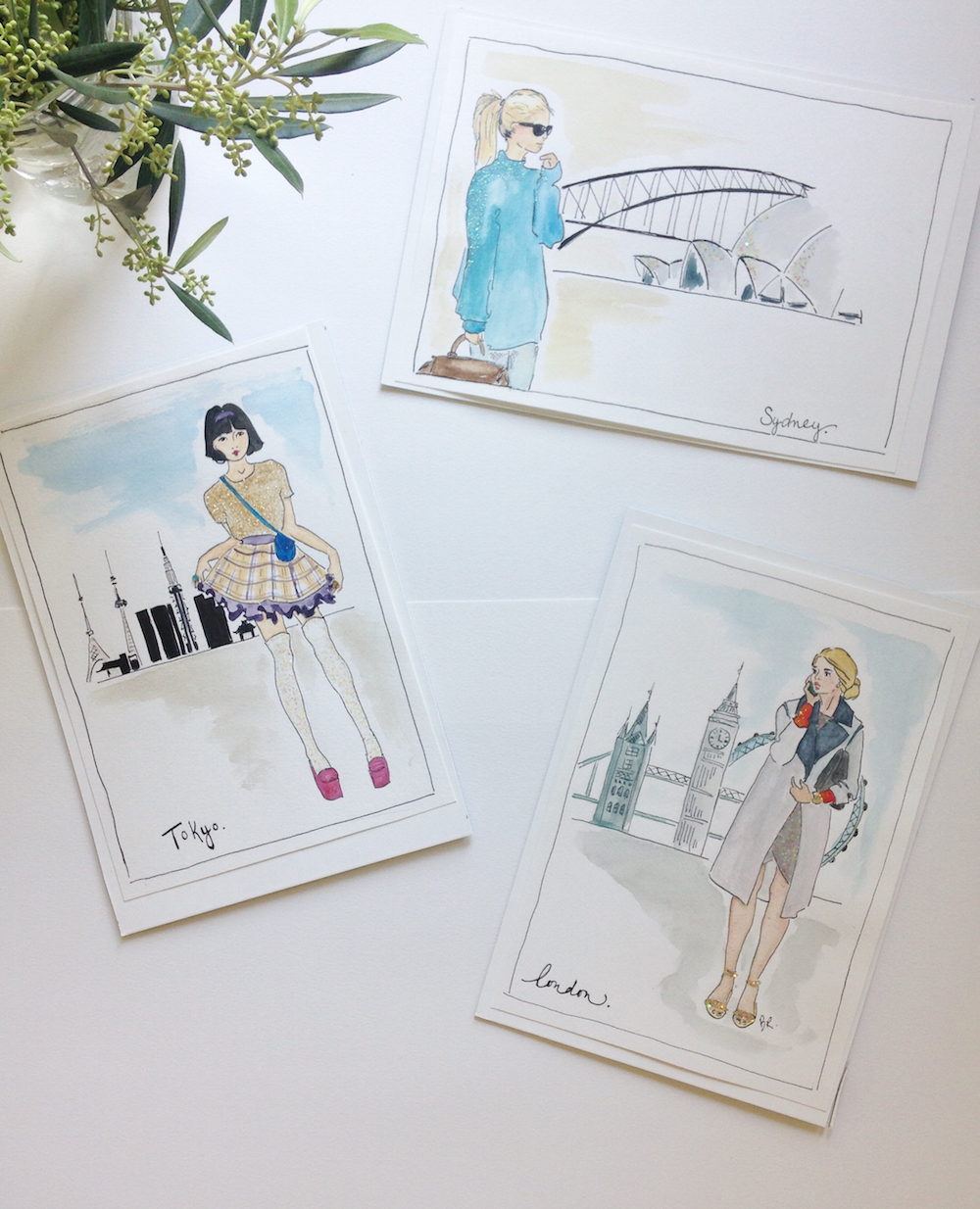 A few of Bethany's recent Fashion Illustrations, click here to see more.