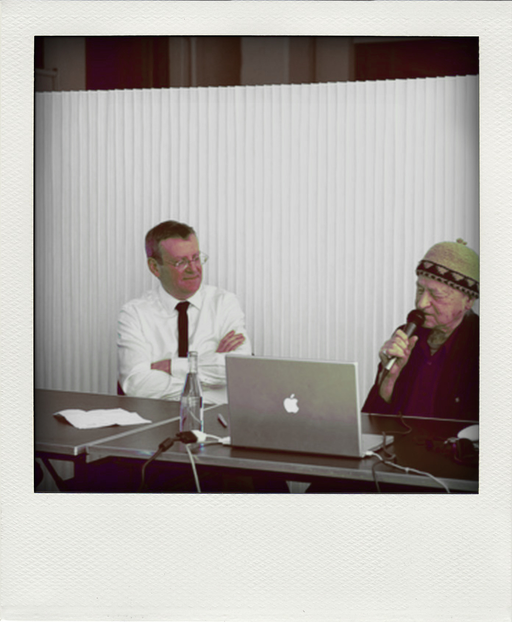"Mark Wigley and Jonas Mekas at the ""ink"" event at Studio X New York."