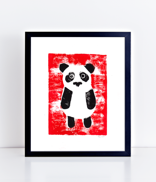 Pressed Panda Limited Edition Linoprint Red Cherilyn Colbert