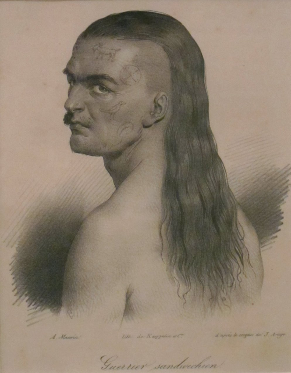One of Kamehameha's chieftains, after a drawing by Jacques Arago via  Susanna Moore