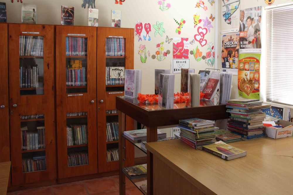 The school library is shared by students of all ages and contains a wide variety of books spanning from encyclopedias to storybooks.