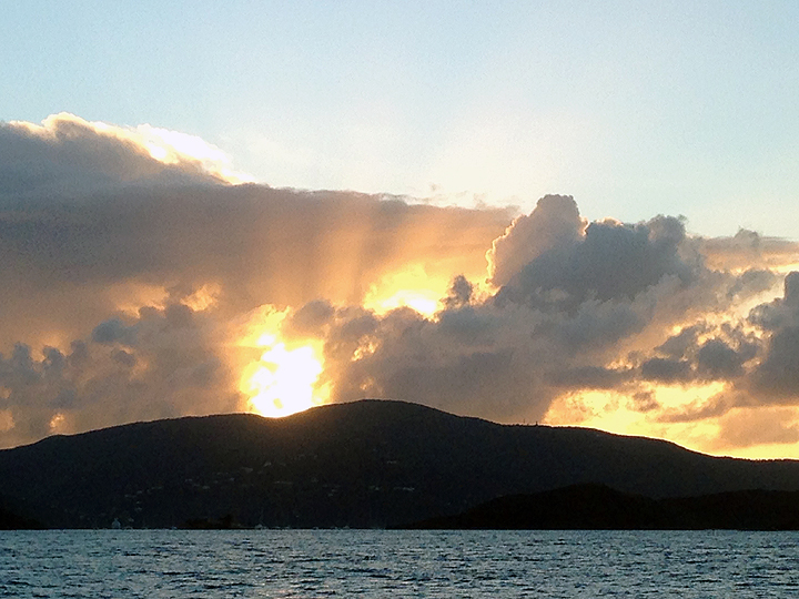 Looking west:  Sunset over Virgin Gorda, BVI