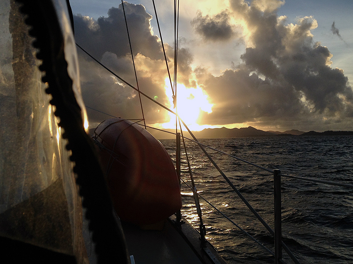 Looking east:  Sunrise over Marigot Bay, St. Martin