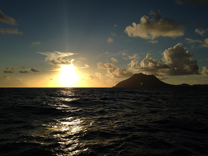 Rounding Nevis at sunset