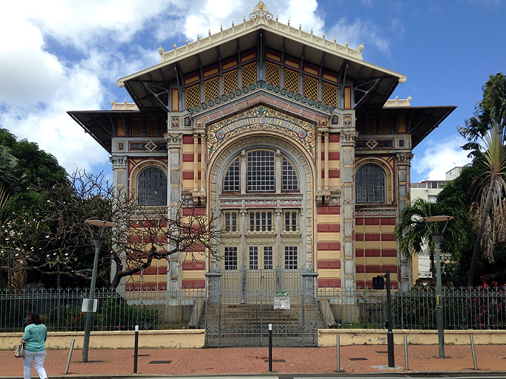 The Schoelcher Library, Fort de France, Martinique.  Designed by Pierre-Henri Picq.  Built in Paris for display at the 1889 World Exposition, the building was disassembled, shipped to Martinique, and reassembled in its present location.