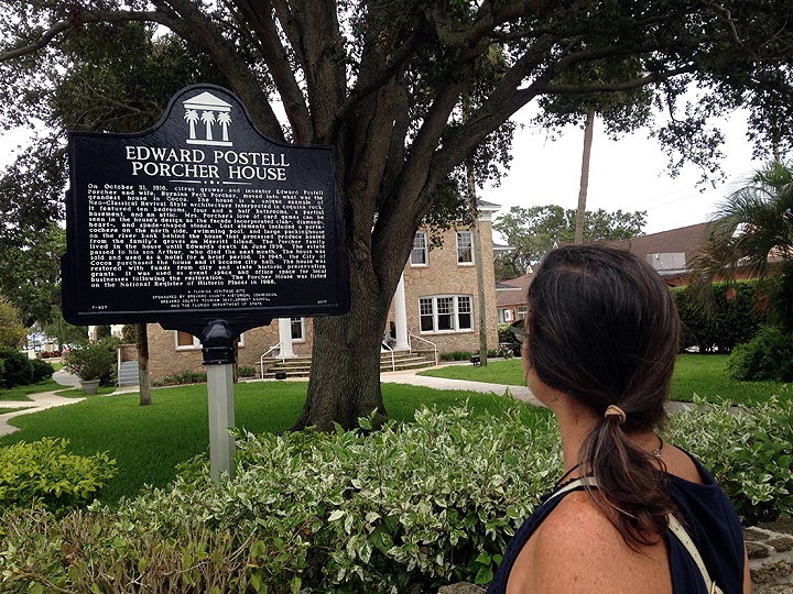 Strolling around Cocoa Village.  Always read the plaque.