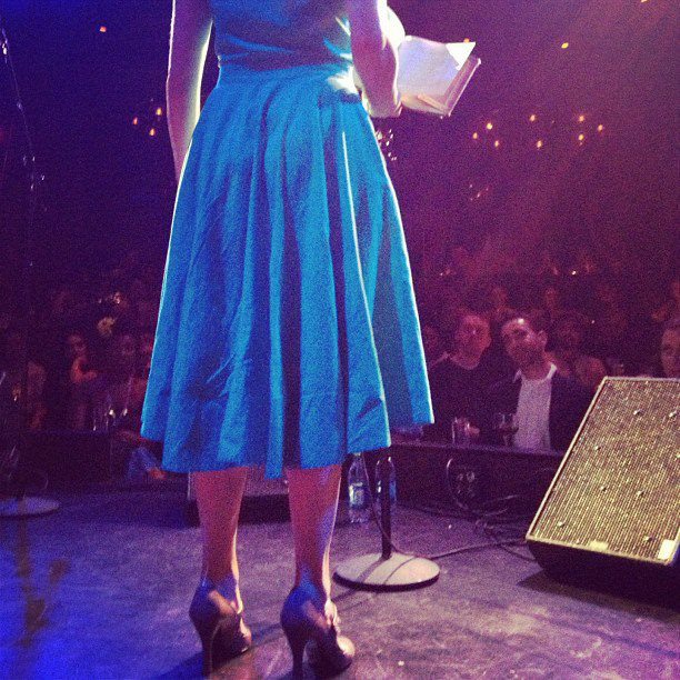 Meghann Plunkett reading poems at Joe's Public Theater in New York City