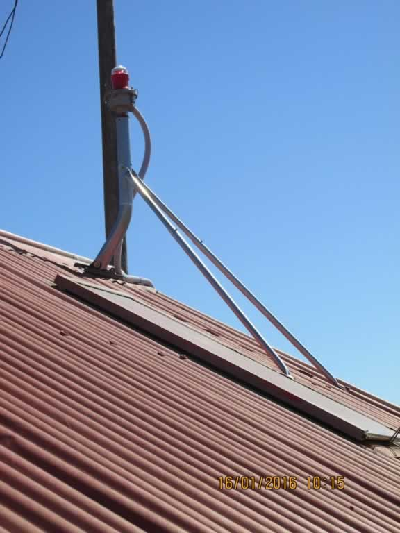 A kind of different installation on a Silo roof using a dish mount to retro fit our L810-DC.