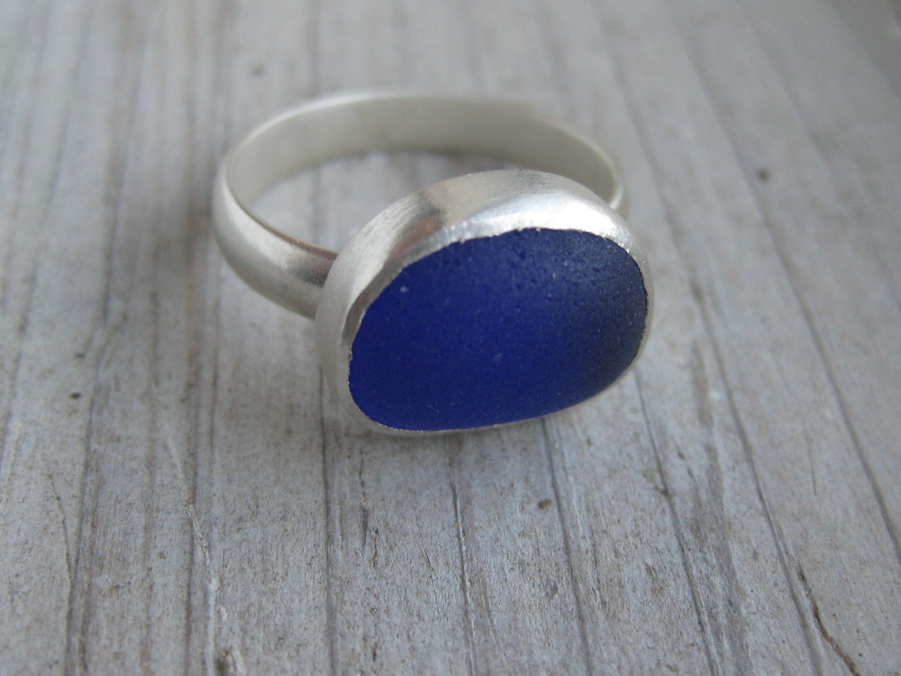 Natural Sea Glass Ring by Lisa Hall