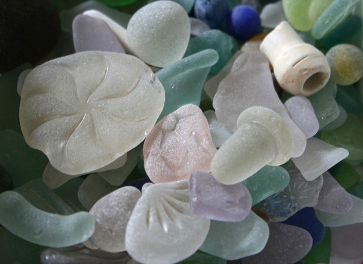 some of Lisa's extensive natural seaglass collection