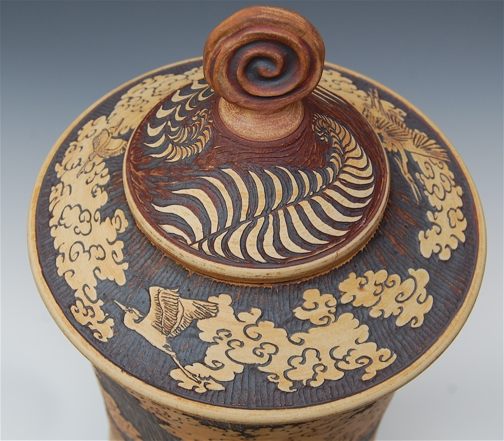 Lid-7  Carved cone lid with Koru handle