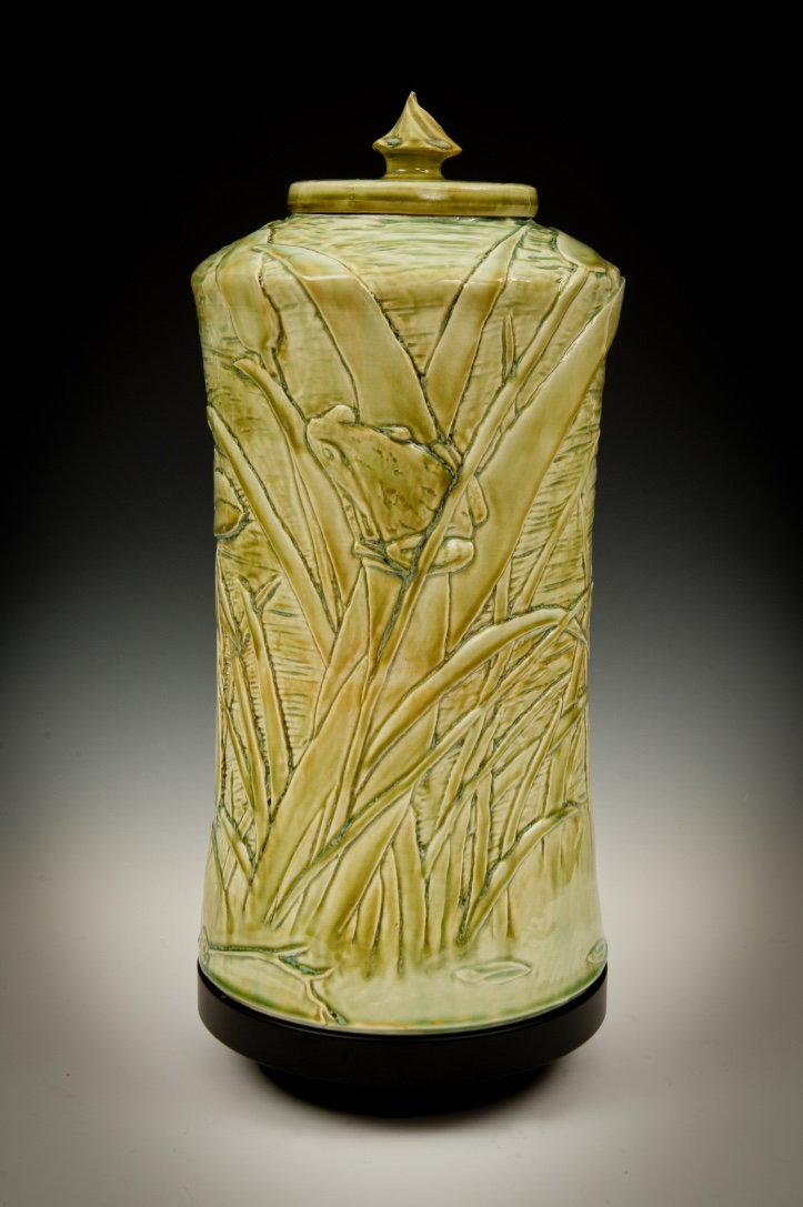 Color-10  Porcelain carved in relief and clear celadon glaze