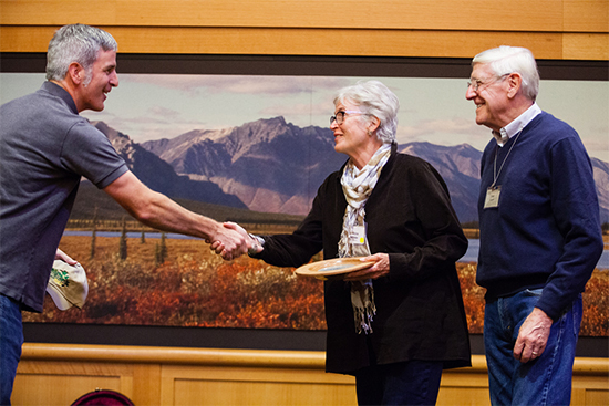 Virginia landowners Christine and Fred Andreae receive the Exemplary Forest Steward award from Craig Highfield of the Alliance for the Chesapeake Bay. Image by Chesapeake Bay Program.