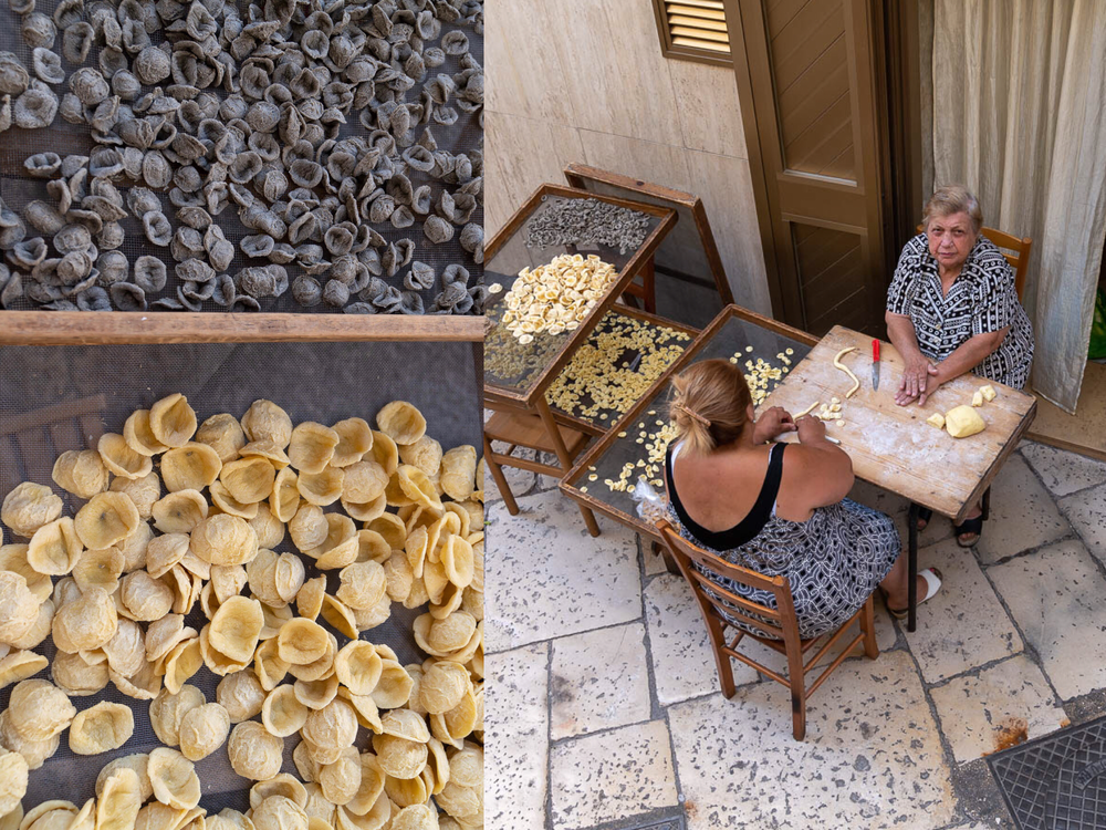 Orecchiette di grano arso and orecchiette giganti (left); Nunzia and Franca, via dell'Arco Basso (right)