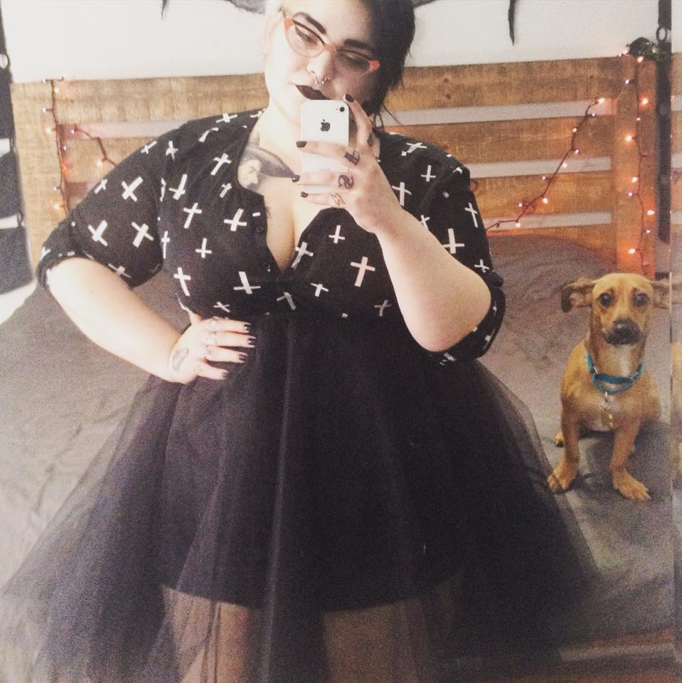 Outfit from Rue21, featuring my furkid, Rumpelstiltskin