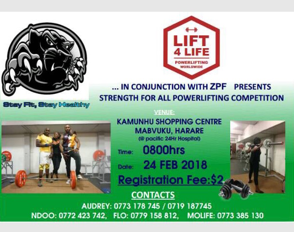 UPCOMING OPPORTUNITIES - Join the Zimbabwe Powerlifting Federation on February 24th in Mabvuku, Harare, for the first powerlifting meet of 2018. For more contact: zimbabwepowerliftingfederation@gmail.com