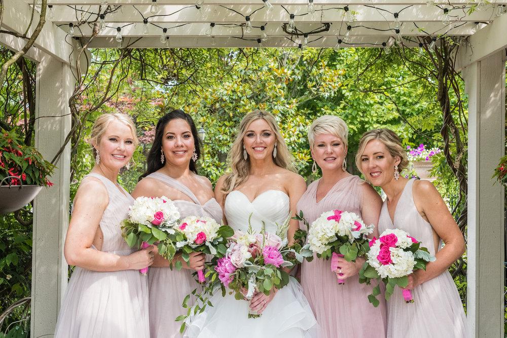 scotland run wedding bridesmaids portraits under the arbor