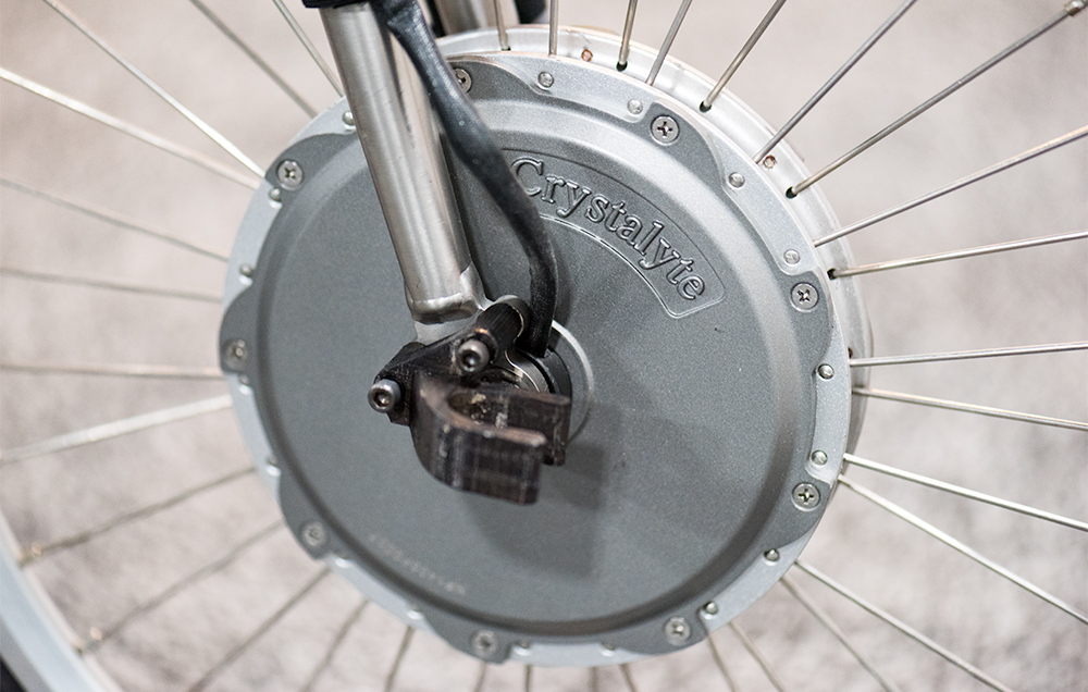 The bike's electronic assist is powered by a 300-watt front hub motor.