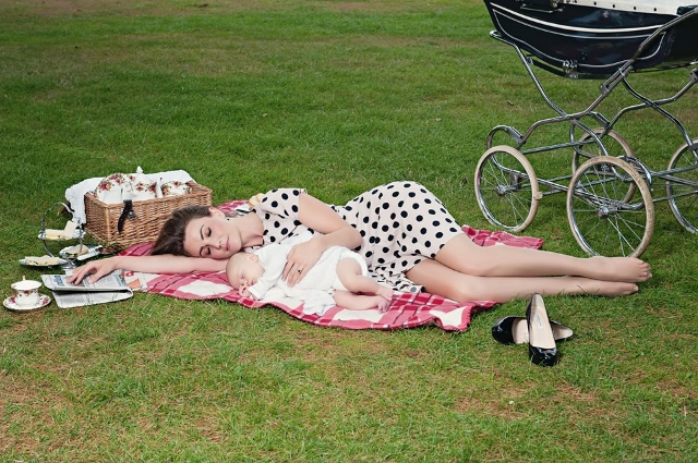 On A Shoot, Napping With A Baby George / Photo Courtesy Of Heidi Agan