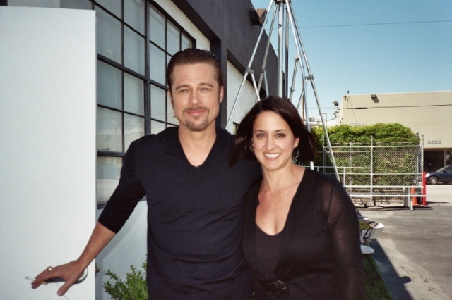 Leila and Brad Pitt on set for a shoot she styled of for the cover of USA Today   / Photo Courtesy Of Leila Baboi