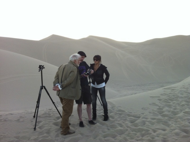 On set in death valley reviewing images with renowned author of The English Patient, Michael Ondaatje   / Photo Courtesy Of Leila Baboi