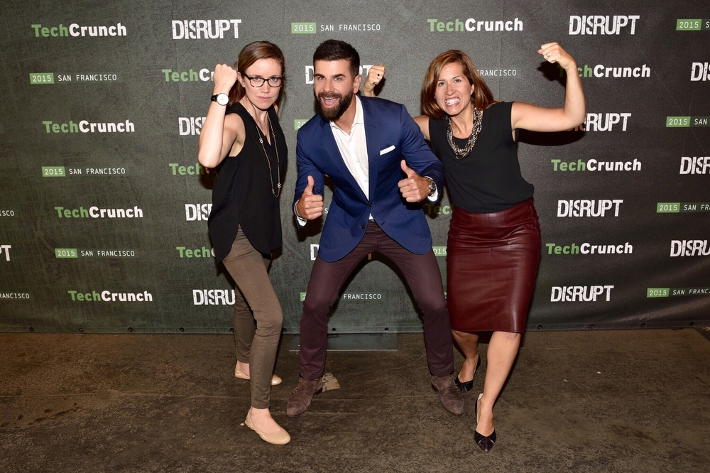 At Tech Crunch with colleagues Mike Marett and Anna Cushing / Photo Courtesy Melissa Manice