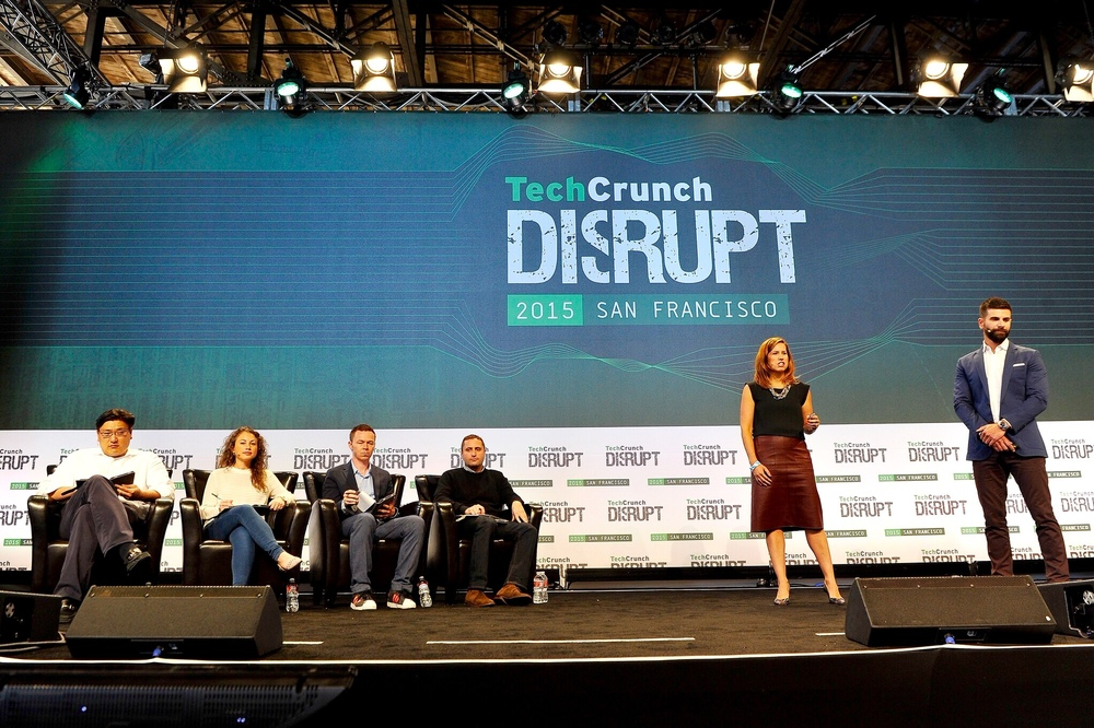 Melissa onstage at Techcrunch Disrupt / Photo courtesy Melissa Manice