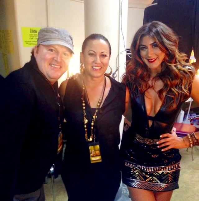 Tina Landon and her longtime Assistant, Jason Myhre backstage at the ALMA Awards in 2014 / Photo Courtesy Rachael Markarian