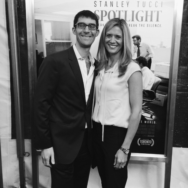BLYE AND HER HUSBAND AARON FAUST AT THE BOSTON PREMIER FOR SPOTLIGHT / PHOTO COURTESY BLYE FAUST