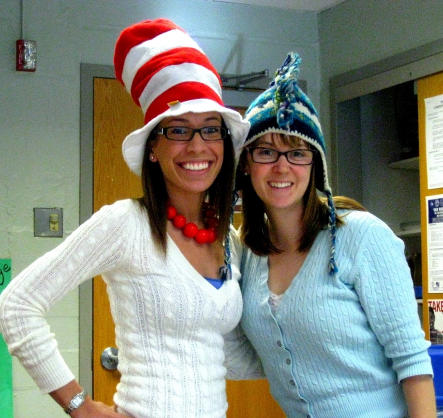 sarah enjoying crazy hat day at school with another teacher. / photo courtesy sarah romero