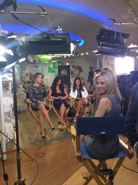 Courtney getting ready to interview Kourtney, Khloe and Kim Kardashian about their expanded clothing line at Babies R Us / Photo Courtesy Courtney Reagan