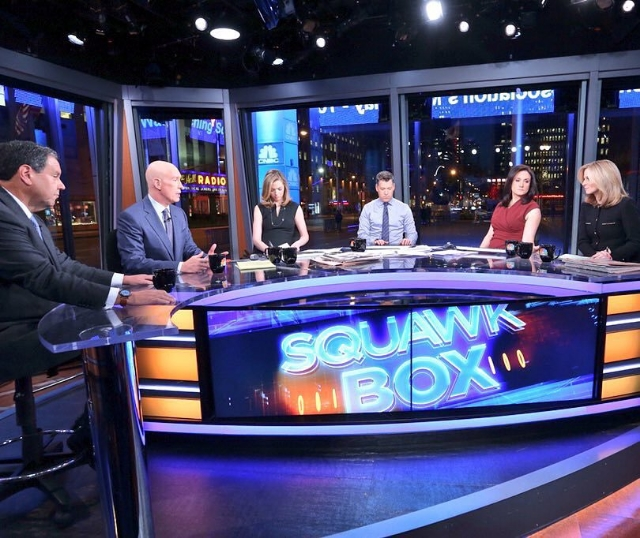 Courtney on the CNBC Squawk Box set with Matt Shay, the CEO of the National Retail Federation, and Steve Sadove, the former CEO of Saks / Photo Courtesy Courtney Reagan