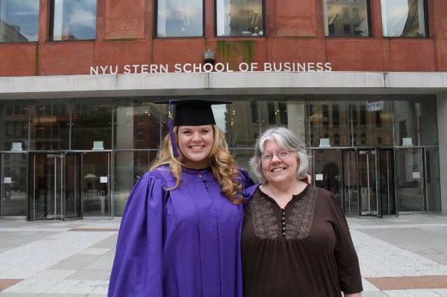 Kelly at graduation from NYU Stern with her mother, Debbie Goldston / Photo courtesy Kelly Goldston