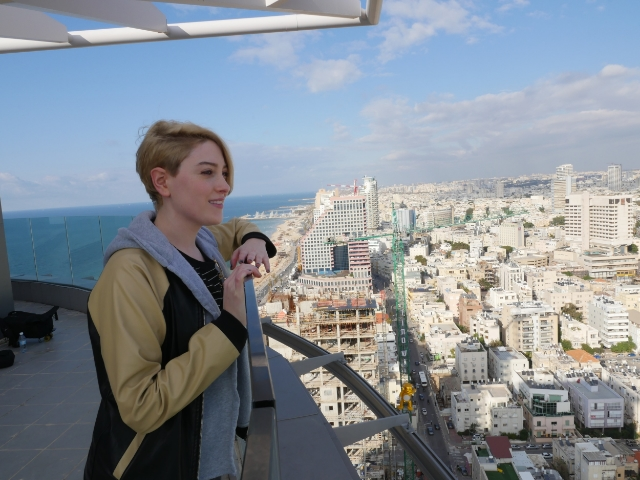 Sarah takes in the amazing view from high above Tel Aviv / Photo Courtesy Sarah Snow